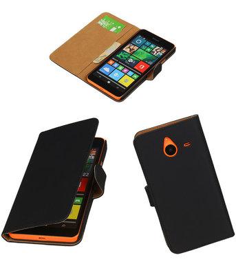 Hoesje voor Microsoft Lumia 640 XL Effen Booktype Wallet Zwart
