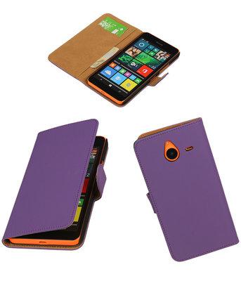 Microsoft Lumia 640 XL Effen Booktype Wallet Hoesje Paars