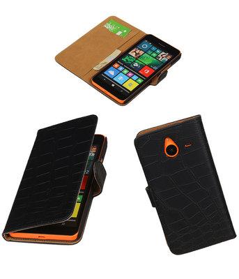 Hoesje voor Microsoft Lumia 640 XL Croco Booktype Wallet Zwart