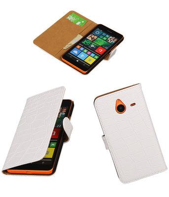 Microsoft Lumia 640 XL Croco Booktype Wallet Hoesje Wit