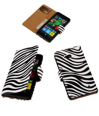 Hoesje voor Microsoft Lumia 640 Zebra Booktype Wallet Wit