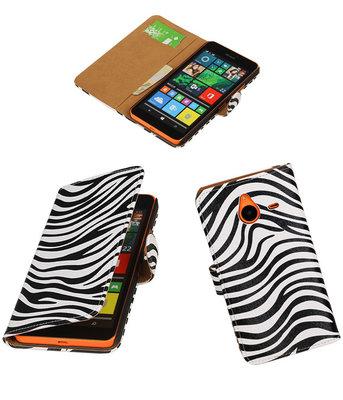 Hoesje voor Microsoft Lumia 640 XL Zebra Booktype Wallet Wit