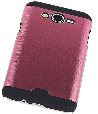 Lichte Aluminium Hardcase Hoesje voor Samsung Galaxy J5 2015 Roze