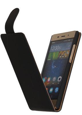 Zwart Effen TPU Classic Flipcase Hoesje Huawei P8 Lite