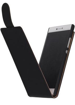 Zwart Effen Classic Flipcase Hoesje voor Huawei P8