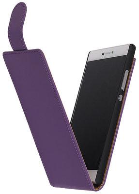 Paars Effen Classic Flipcase Hoesje voor Huawei P8