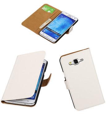 Hoesje voor Samsung Galaxy J5 2015 Effen Booktype Wallet Wit
