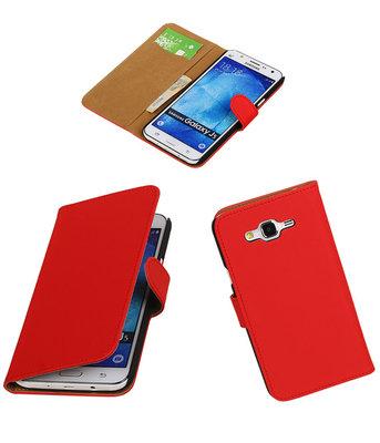 Hoesje voor Samsung Galaxy J5 2015 Effen Booktype Wallet Rood