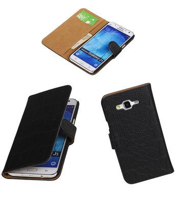 Hoesje voor Samsung Galaxy J5 2015 Croco Booktype Wallet Zwart