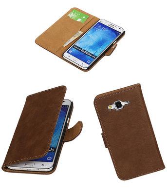 Hoesje voor Samsung Galaxy J5 2015 Bark Hout Booktype Wallet Bruin