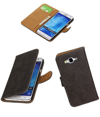 Hoesje voor Samsung Galaxy J5 2015 Bark Hout Booktype Wallet Grijs