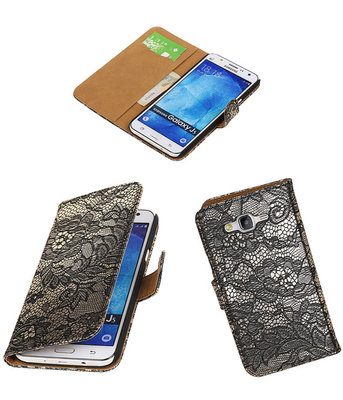 Hoesje voor Samsung Galaxy J5 2015 Lace Kant Booktype Wallet Zwart