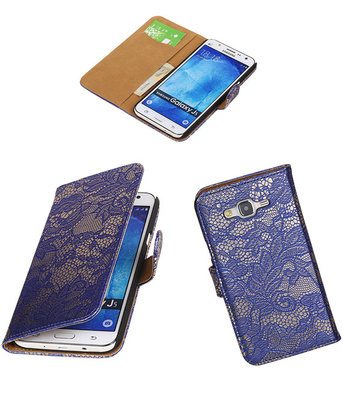Hoesje voor Samsung Galaxy J5 2015 Lace Kant Booktype Wallet Blauw