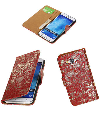 Samsung Galaxy J5 2015 Lace Kant Booktype Wallet Hoesje Rood