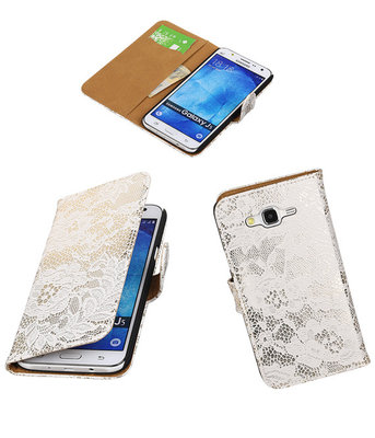 Hoesje voor Samsung Galaxy J5 2015 Lace Kant Booktype Wallet Wit