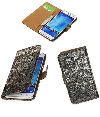 Samsung Galaxy J7 2015 Lace Kant Booktype Wallet Hoesje Zwart
