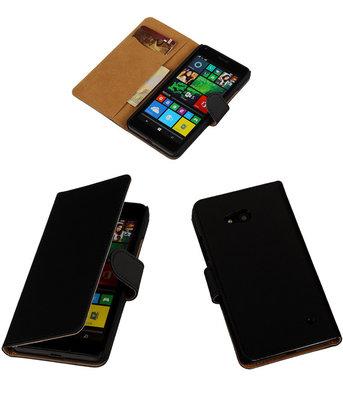 Hoesje voor Microsoft Lumia 640 Effen Booktype Wallet Zwart