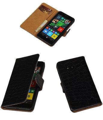 Hoesje voor Microsoft Lumia 640 Crocodile Booktype Wallet Zwart