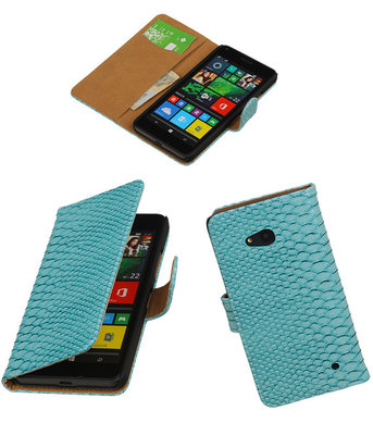 Turquoise Slang Booktype Hoesje voor Microsoft Lumia 640 Wallet Cover