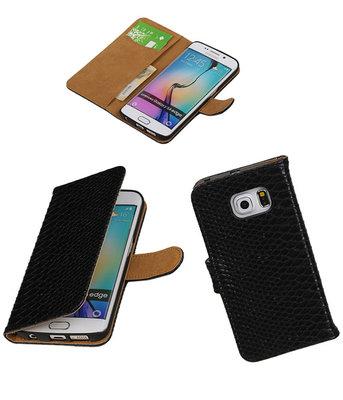 Slang Zwart Hoesje voor Samsung Galaxy S6 Edge Book Wallet Case