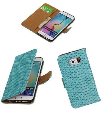 Slang Turquoise Hoesje voor Samsung Galaxy S6 Edge Book Wallet Case