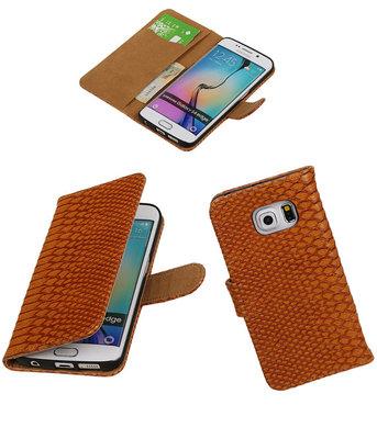Slang Bruin Hoesje voor Samsung Galaxy S6 Edge Book Wallet Case