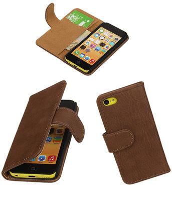 Apple iPhone 5c Bark Hout Booktype Wallet Hoesje Bruin
