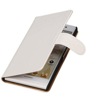 Huawei Ascend Y330 Effen Booktype Wallet Hoesje Wit