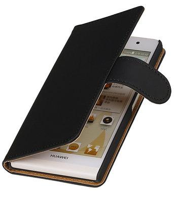 Huawei Ascend Y330 Effen Booktype Wallet Hoesje Zwart