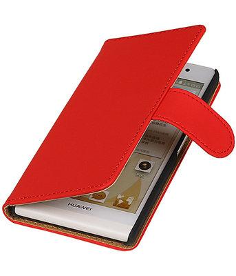 Hoesje voor Huawei Ascend Y330 Effen Booktype Wallet Rood