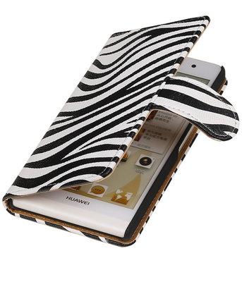 Hoesje voor Huawei Ascend Y330 Zebra Booktype Wallet