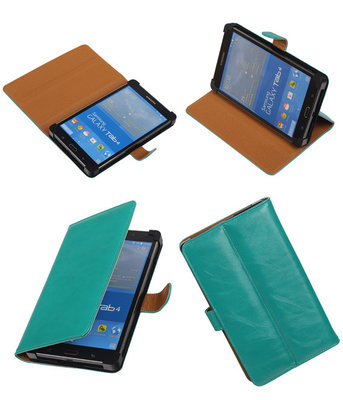 PU Leder Groen Hoesje voor Samsung Galaxy Tab 4 7.0 Stand Book/Wallet Case/Cover