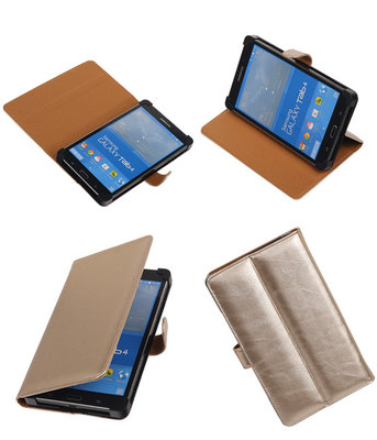 PU Leder Goud Hoesje voor Samsung Galaxy Tab 4 7.0 Stand Book/Wallet Case/Cover