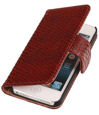 Hoesje voor Apple iPhone 5c Snake Slang Booktype Wallet Rood