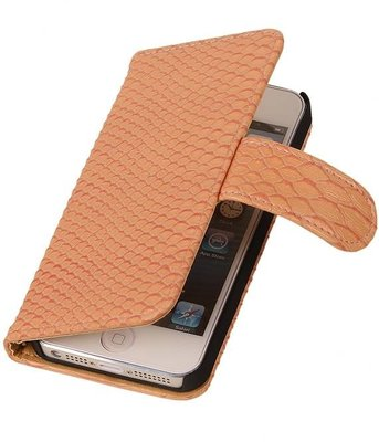 Hoesje voor Apple iPhone 5c Snake Slang Booktype Wallet Roze