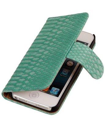 Apple iPhone 5c Snake Slang Booktype Wallet Hoesje Turquoise