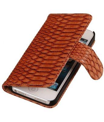 Hoesje voor Apple iPhone 5c Snake Slang Booktype Wallet Bruin
