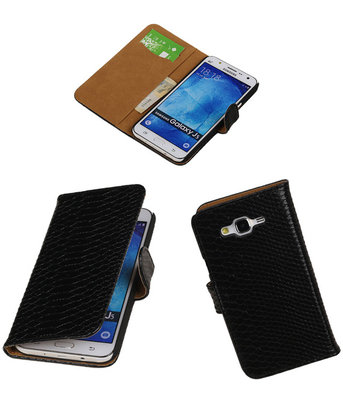 Hoesje voor Samsung Galaxy J5 2015 Snake Slang Booktype Wallet Zwart