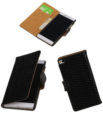 Hoesje voor Huawei P8 Snake Slang Booktype Wallet Zwart