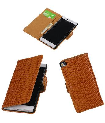 Hoesje voor Huawei P8 Snake Slang Booktype Wallet Bruin