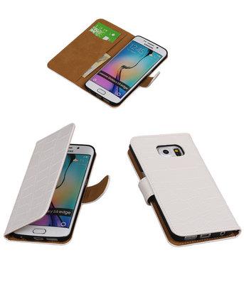 Hoesje voor Samsung Galaxy S6 Edge Krokodil Booktype Wallet Wit