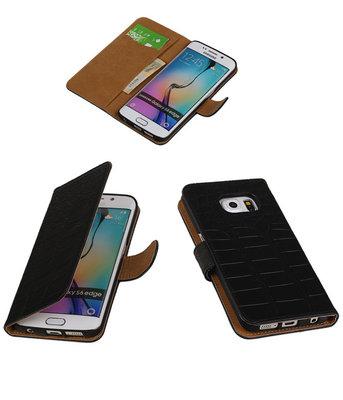 Hoesje voor Samsung Galaxy S6 Edge Krokodil Booktype Wallet Zwart