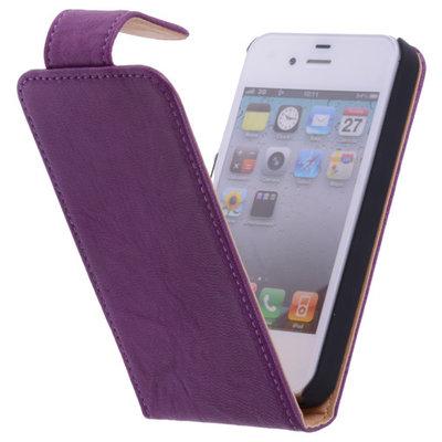 Polar Echt Lederen Hoesje voor Apple iPhone 4/4s Flipcase Lila