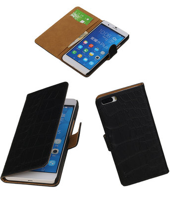 Croco Zwart Honor 6 Plus Book/Wallet Case/Cover