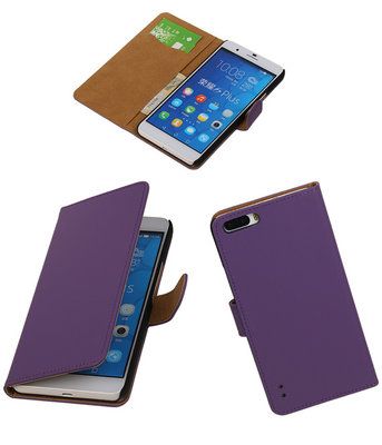 Paars Honor 6 Plus Book/Wallet Case/Cover Hoesje