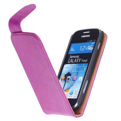 Polar Echt Lederen Hoesje voor Samsung Galaxy S Duos S7562 Flipcase Lila