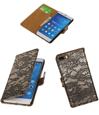 Huawei Honor 6 Plus Lace Kant Booktype Wallet Hoesje Zwart