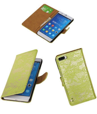 Huawei Honor 6 Plus Lace Kant Booktype Wallet Hoesje Groen