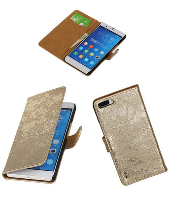 Huawei Honor 6 Plus Lace Kant Booktype Wallet Hoesje Goud