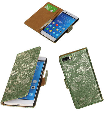 Huawei Honor 6 Plus Lace Kant Booktype Wallet Hoesje Donker Groen